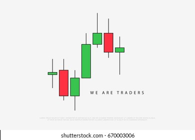stock chart logotype with japanese candles pattern. vector currencies trading diagram. exchange market graph. forex success concept logo. bullish and bearish price trend