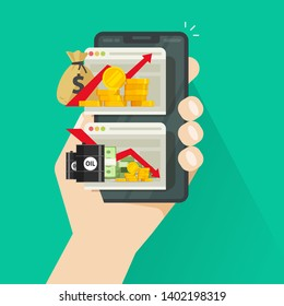 Stock charts on smartphone vector illustration, flat cartoon trader checking global economic financial trends via mobile phone, stocks market growth or loss graphs on cellphone screen
