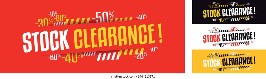 Stock clearance banner in four variations