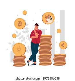 Stock crypto abstract concept vector illustration. Businessman in casual clothes thinking which crypto currency is the best for investment or trading. Bitcoin, Dogecoin, Ethereum, Litecoin, Ripple.