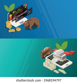 Stock exchange 2 isometric background banners with building banknotes bear market trends symbols on smartphone vector illustration