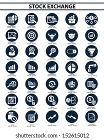 Stock exchange icon set,vector