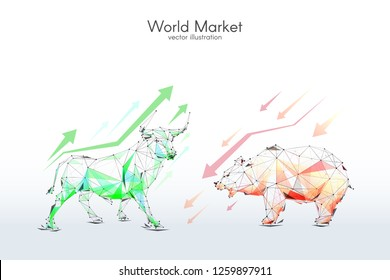 Stock Exchange low-poly wireframe vector illustration. Digital graphics. Technology art image of World or Stock Market. Bull and Bear with arrows. Finance and business concept.