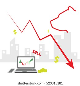 Stock exchange market bears metaphor. Falling, declining down stock price. Trading business concept. Modern fat style vector illustration. Online market.