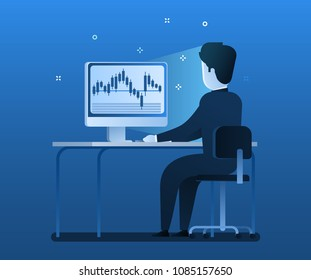 Stock Exchange Trading Forex Finance Graphic Concept. businessman sitting at the computer and watching the stock exchange schedule. Flat design, vector illustration.