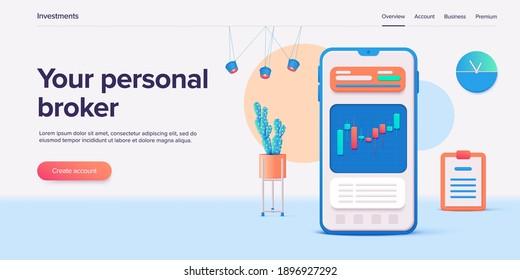 Stock exchange vector illustration in 3d design. Trading market or investment mobile app. Financial broker or trader application. Web banner layout template.