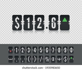 Stock exchange vector mechanic board. Analog flip airport board for countdown timer. Flip number and symbol scoreboard on white background.
