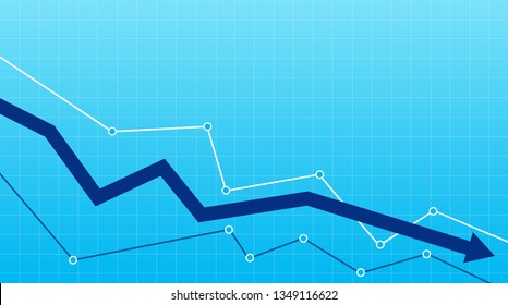 Stock or financial market crash with blue arrow on a blue background