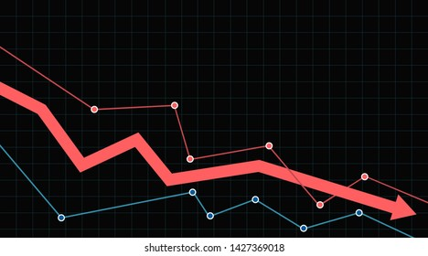Stock or financial market crash with red arrow on a black background. Arrow pointing downwards showing crisis.