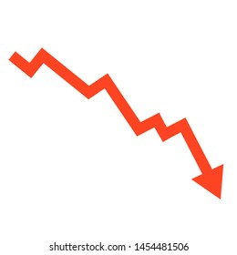 Stock or financial market crash with red arrow flat vector illustrations for websites