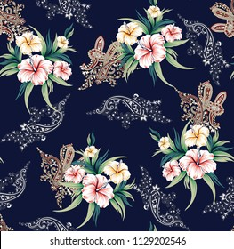 stock flowers bunches  with paisley pattern on navy background
