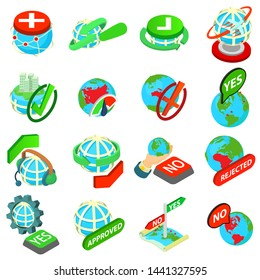 Stock icons set. Isometric set of 16 stock vector icons for web isolated on white background