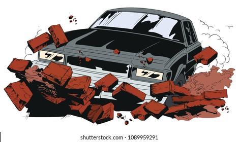 Stock illustration. Car breaking wall.