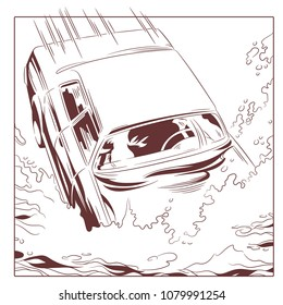 Stock illustration. Car falls into water.