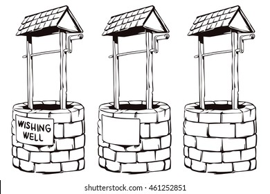 Stock illustration. Cartoon black and white vector wishing well
