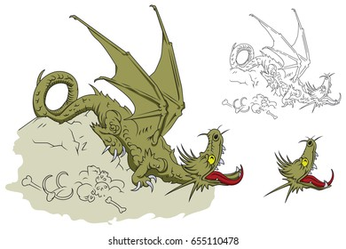 Stock illustration. Dragon on a pile of bones.