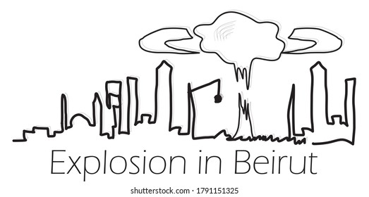 stock illustration, explosion in the port of Beirut, Lebanon. Tragedy in Beirut, explosion, accident. line drawing of the silhouette of the city of Beirut. pray for beirut