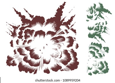 Stock illustration. Explosion and a set for its creation.