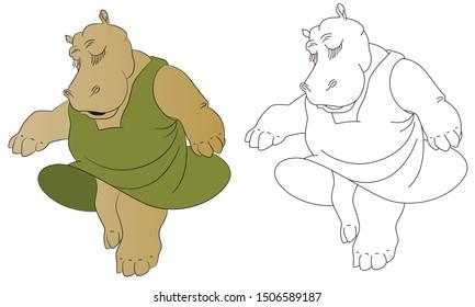 Stock illustration. Hippo girl dancing.