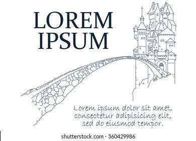 Stock illustration. Line graphic. Fairytale castle.