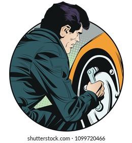 Stock illustration. Mechanic unscrews wheel of machine.