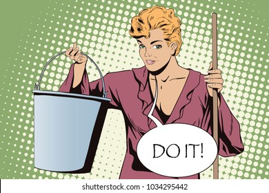 Stock illustration. People in retro style pop art and vintage advertising. Woman from cleaning service.