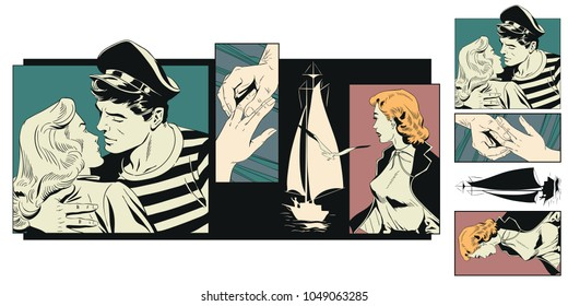 Stock illustration. People in retro style pop art and vintage advertising. Girl says goodbye to sailor.