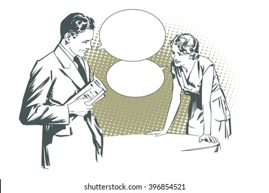 Stock illustration. People in retro style pop art and vintage advertising. Client cafes talking with the waitress.