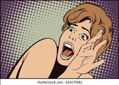 Stock illustration. People in retro style pop art and vintage advertising. Girl screaming in horror.