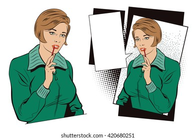 Stock illustration. People in retro style pop art and vintage advertising. The girl in front of a difficult choice.