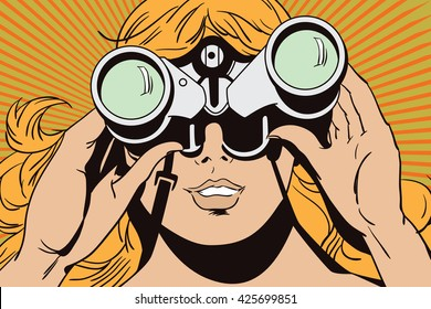 Stock illustration. People in retro style pop art and vintage advertising. Girl with binoculars