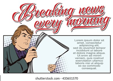 Stock illustration. People in retro style pop art and vintage advertising. A man reading the morning newspaper.