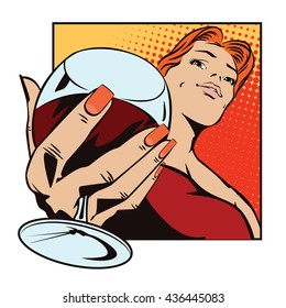 Stock illustration. People in retro style pop art and vintage advertising. Girl with a glass of wine.