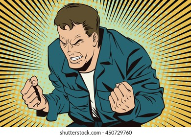 Stock illustration. People in retro style pop art and vintage advertising. Rage men screaming.