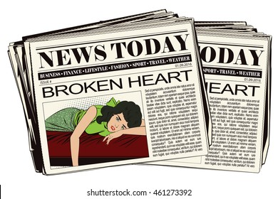 Stock illustration. People in retro style pop art and vintage advertising. Broken heart. Girl lies on bed and crying. Newspaper article.