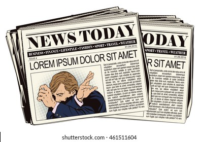 Stock illustration. People in retro style pop art and vintage advertising. Upset man clutching his head. Newspaper article.