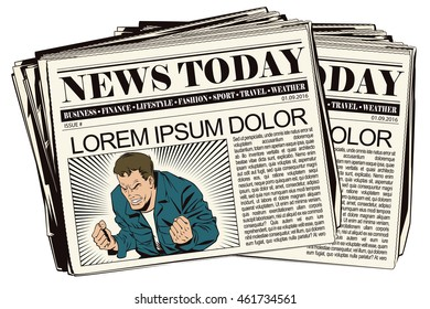 Stock illustration. People in retro style pop art and vintage advertising. Rage men screaming. Newspaper article.