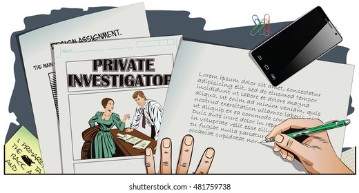 Stock illustration. People in retro style pop art and vintage advertising. Private detective and girl. Hand paints picture.