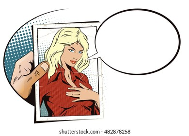 Stock illustration. People in retro style pop art and vintage advertising. Hand with photo. Girl presses her hand to her chest.