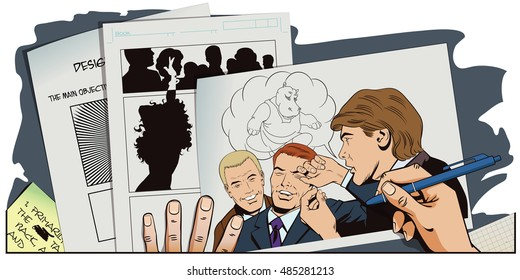 Stock illustration. People in retro style pop art and vintage advertising. Man tells funny story to friends. Hand paints picture.