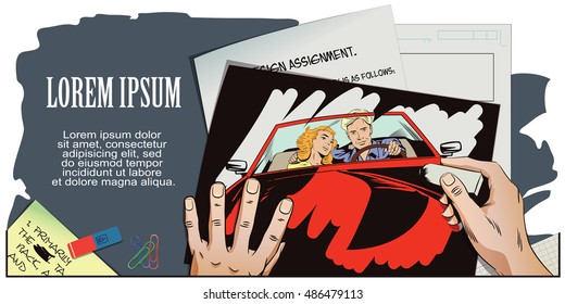Stock illustration. People in retro style pop art and vintage advertising. Guy and girl in a sports car. Hand paints picture.