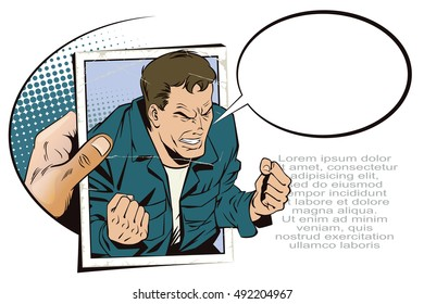 Stock illustration. People in retro style pop art and vintage advertising. Rage men screaming. Hand with photo.