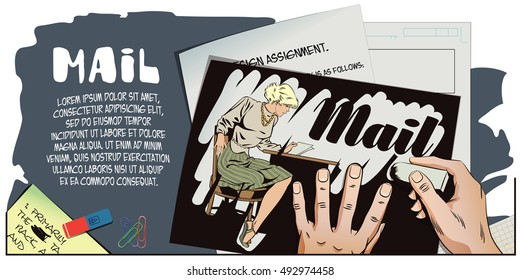 Stock illustration. People in retro style pop art and vintage advertising. Girl reads letter. Hand paints picture.
