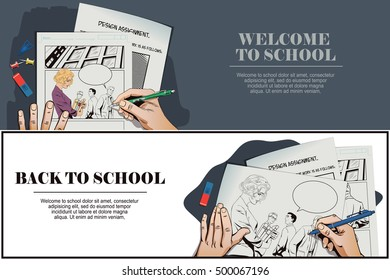 Stock illustration. People in retro style pop art and vintage advertising. Welcome to school. Back to school. Beautiful girl going to school. Guys look at her. Hand paints picture.