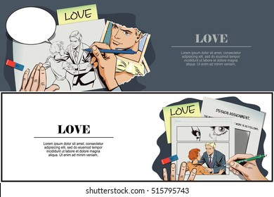 Stock illustration. People in retro style pop art and vintage advertising. Broken heart. Girl and boy talking. Hand paints picture.