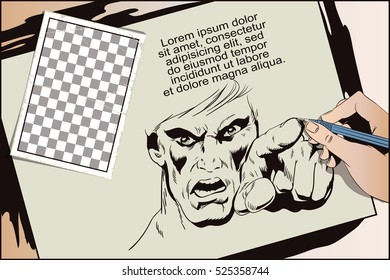 Stock illustration. People in retro style. Presentation template. Rage men screaming. Hand paints picture.