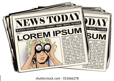 Stock illustration. People in retro style. Presentation template. Girl looks through binoculars. Her hair fluttering in the wind. Newspaper article.