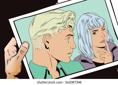 Stock illustration. People in retro style. Presentation template. Girl wants silence from guy.