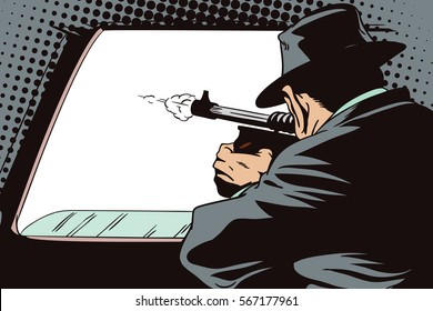 Stock illustration. People in retro style pop art and vintage advertising. Gangster shoots out of car window.