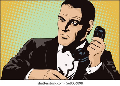 Stock illustration. People in retro style. Presentation template. Secret agent on a mission. Businessman with phone.
